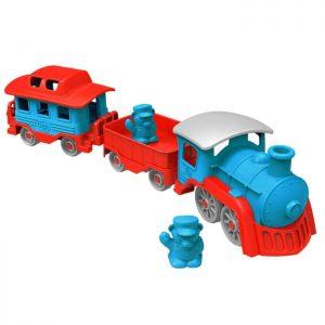 Green Toys train bleu & rouge