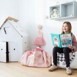 sac de rangement jouets enfants elephant rose play and go
