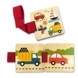livre jouet en bois bebe voitures pour poussette petit collage