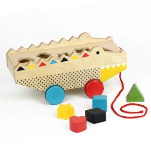 Petit Collage : crocodile jouet à tirer + boite à formes