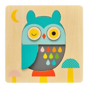 Petit Collage : puzzle hibou en bois